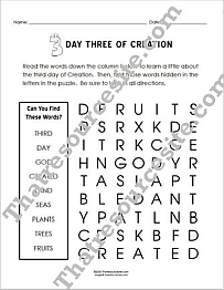 Day Three of Creation Word Search (Large Print)