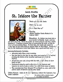 St. Isidore the Farmer Saint Profile Sheet