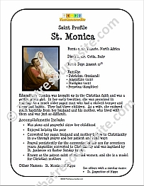 St. Monica Saint Profile Sheet