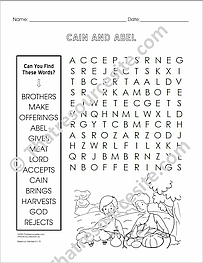 Cain and Abel Word Search EZ Puzzle Worksheet
