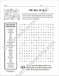 Fall of Man Word Search Puzzle Worksheet