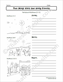 Magi Visit the Holy Family First Next Then Bible Worksheet Set
