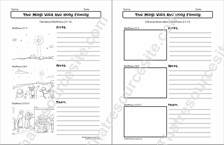 Magi Visit the Holy Family First Next Then Bible Worksheet Set for Kids