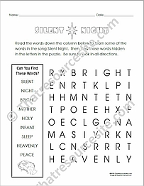 Silent Night Word Search EZ Puzzle Worksheet