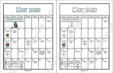 May 2021 Printable Liturgical Calendar Page for Students