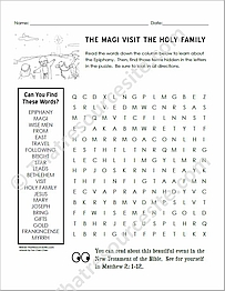 Magi Visit the Holy Family Word Search Puzzle Worksheet