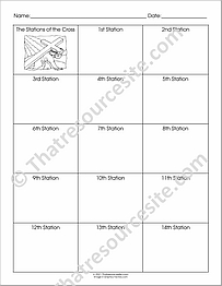 Stations of the Cross Chart Worksheet Set