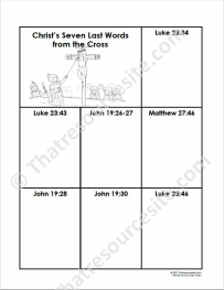 Seven Last Words of Christ Notebooking Sheet